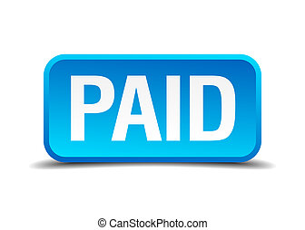 Paid blue 3d realistic square isolated button