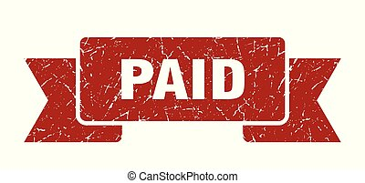 paid grunge ribbon. paid sign. paid banner