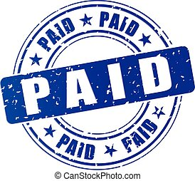 paid icon - illustration of blue stamp icon for paid