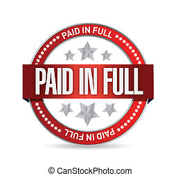 paid in full seal illustration design over a white...