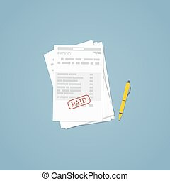 Paid invoice document - Flat illustration. Documents,...