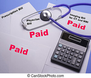 Paid medical bills covered by insurance so that there is a zero balance .