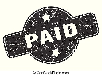 paid round grunge isolated stamp