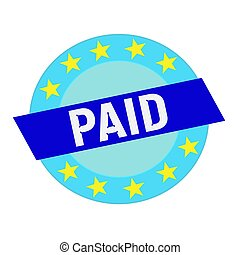 paid white wording on blue Rectangle and Circle blue stars