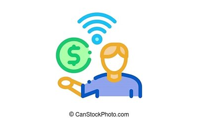 paid wifi services Icon Animation. color paid wifi services animated icon on white background