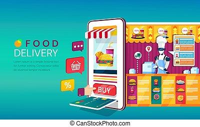 paiement, backing, sur, rainure, icônes, plat à emporter, magasin, mobile, tablette, ordre, achats, nourriture, ou, livraison, carte, ligne, concept, téléphone