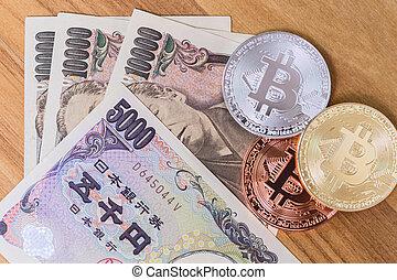 paiement, japon, bitcoin, yen, argent., cryptocurrency, utilisation