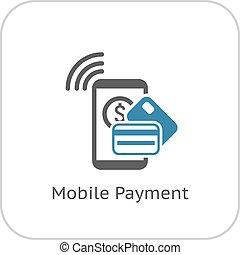 paiement, mobile, icon., plat, design.