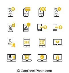 paiement, set., illustration, icône, vecteur, ligne