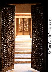 paigah, 墓, 歴史的, ドア, 入りなさい, 開いた