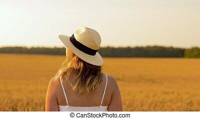 paille, champ, femme, été, céréale, chapeau