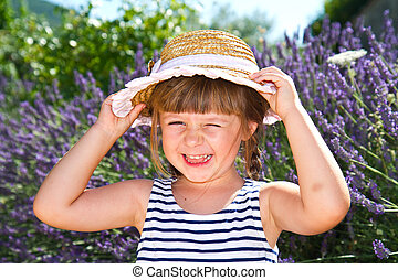 paille, champ lavande, sourire, chapeau, girl