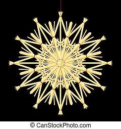 paille, décoration, étoile, noël