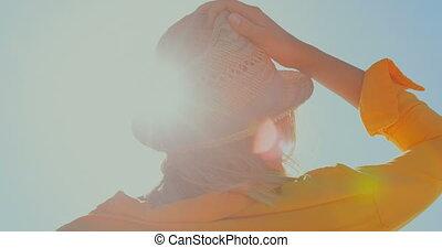 paille, femme, chapeau, plage, 4k
