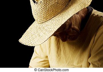 paille, homme, chapeau, triste