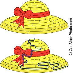 paille, labyrinthe, chapeau