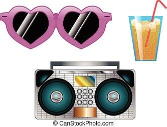 paille, lunettes soleil, boisson, radio
