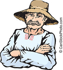 paille, paysan, chapeau, homme, village
