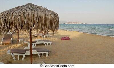 paille, umbrellas., plage, roseau, panorama