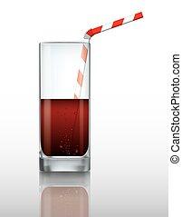 paille, verre, boire, boisson, vecteur