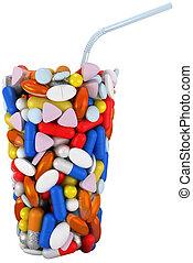 paille, verre, forme, assemblé, pilules