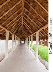 paille, walkway, long, toit, sous, couvert chaume