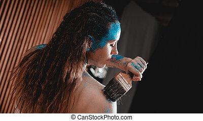pailletten, schöne , blaues, m�dchen, bodyart, porträt