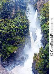 Pailon del Diablo - Mountain river and waterfall in the ...