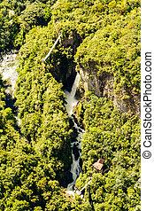 Pailon Del Diablo Waterfall Aerial Shot