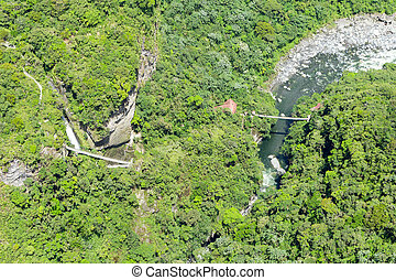 Pailon Del Diablo Waterfall Aerial Shot