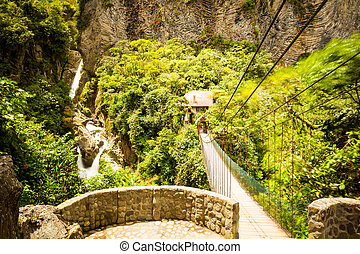 Pailon Del Diablo Waterfall And Observation Balcony In Ecuadorian Andes