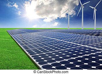 painéis energia solar, e, areje turbina