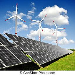 painéis energia solar, turbinas vento