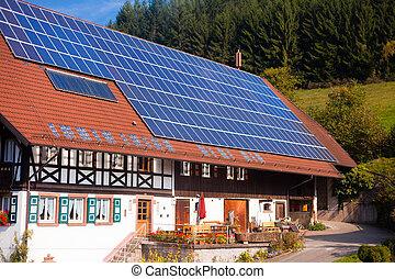 painéis, frarmhouse, solar