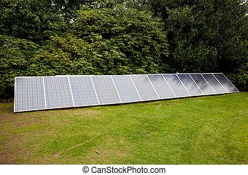 painéis, jardim, solar