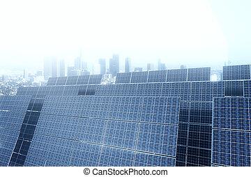painéis, lado, solar