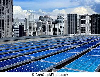 painéis, modernos, solar
