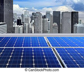 painéis, modernos, solar, telhado