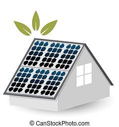 painéis, solar, ícone