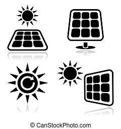 painéis, solar, ícones