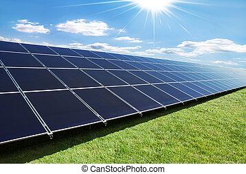 painéis, solar, fila