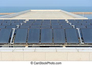 painéis, solar, telhado
