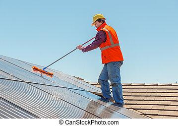 painéis, trabalhador, solar