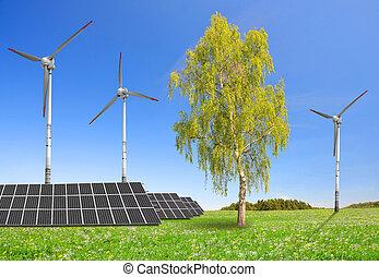 painéis, turbinas, solar, vento