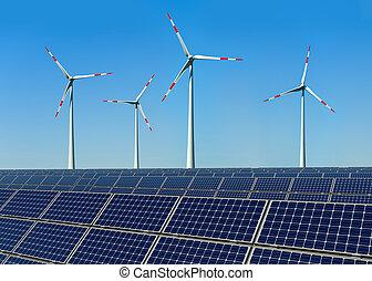 painéis, turbinas, vento, solar