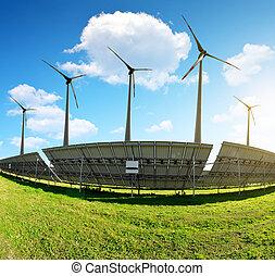 painéis, turbines., solar, vento