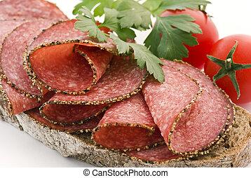 pain, à, poivre, salami