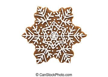 pain épice, décoré, biscuits, flocon de neige