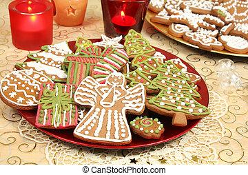 pain épice, décoré, biscuits, noël