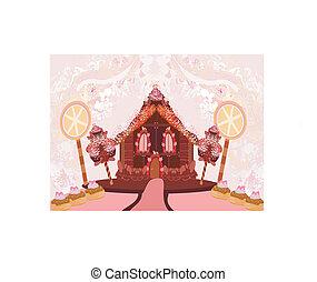 pain épice, illustration, maison